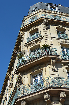 ornate cast iron balconies on a