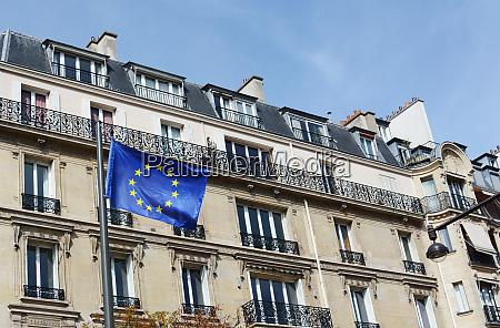 eu flag flies against a backdrop