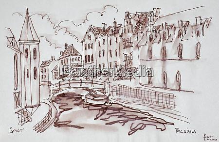 flemish architecture along a canal ghent