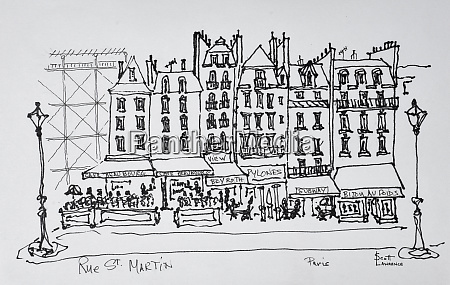 historic rue st martin paris france