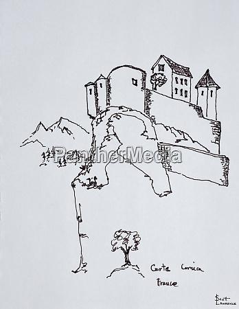 hilltop fortress of corte corsica france