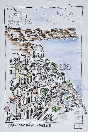 cliffside town of fira island of