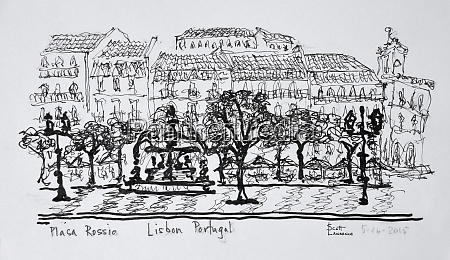 famous town square placa rossio lisbon
