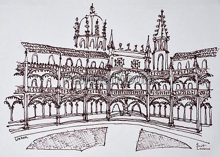 jeronimos monastery cloister lisbon portugal