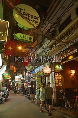 night street scene old quarter hanoi