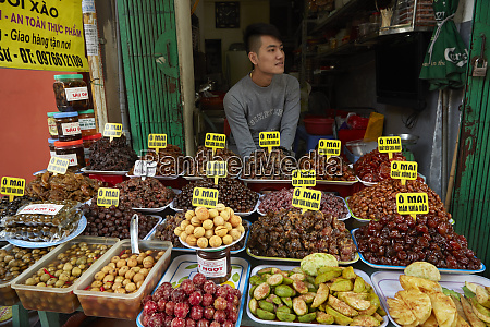 vendor and sticky fruit stall old