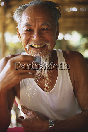 old man with beard mekong delta