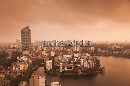 vietnam hanoi elevated city view by