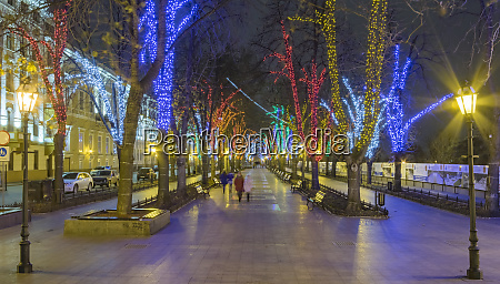 promenade in holiday lights odessa ukraine