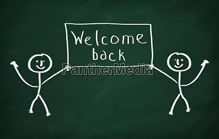 on the blackboard draw two chracters