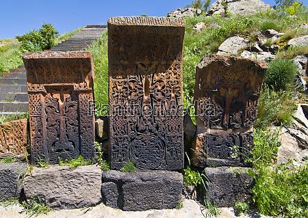 old gravestones in the sevanavank sevan
