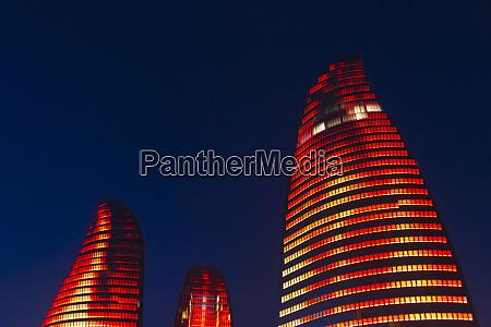 night view of flaming towers baku