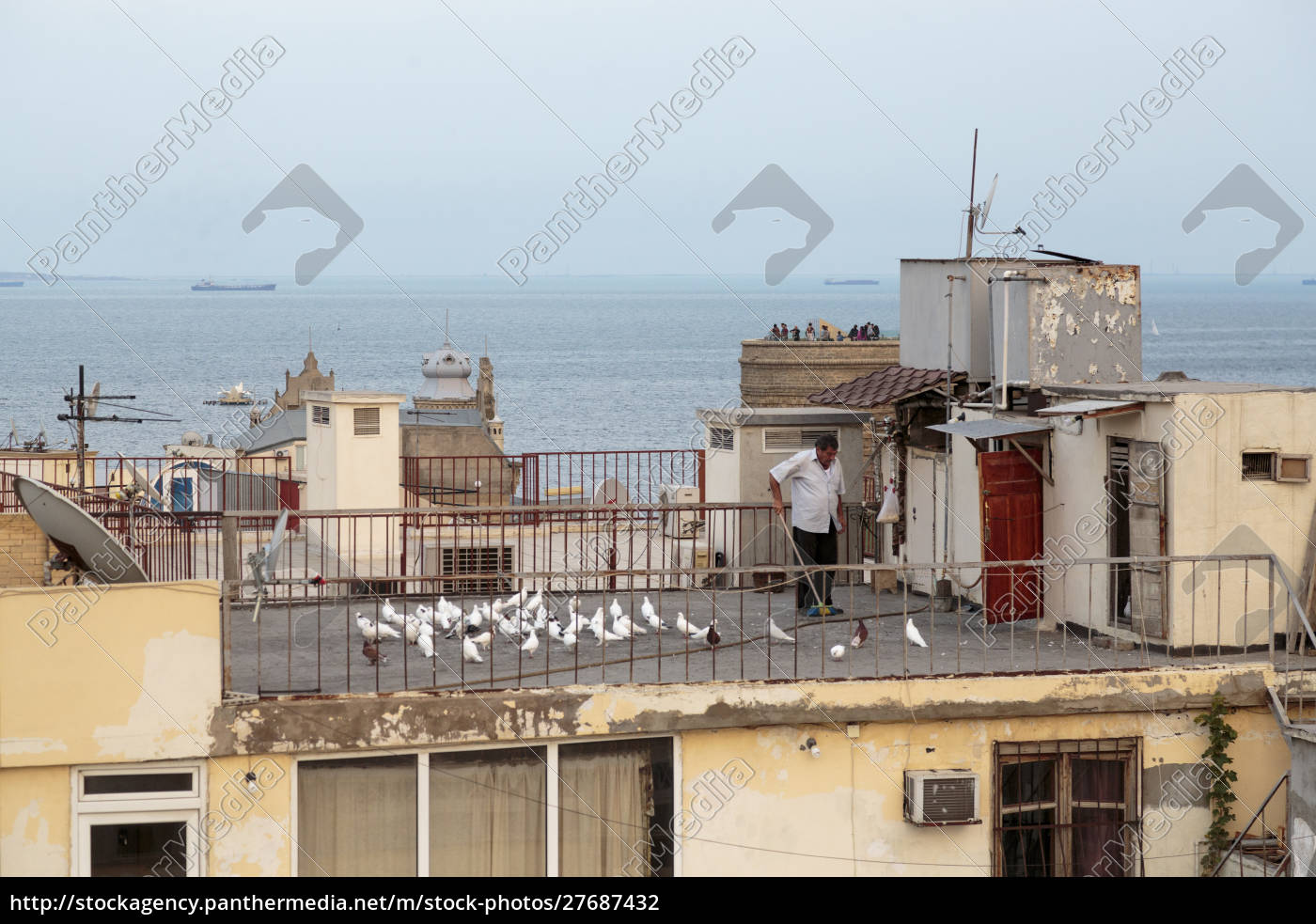 azerbaijan, , baku., a, man, sweeping, his - 27687432
