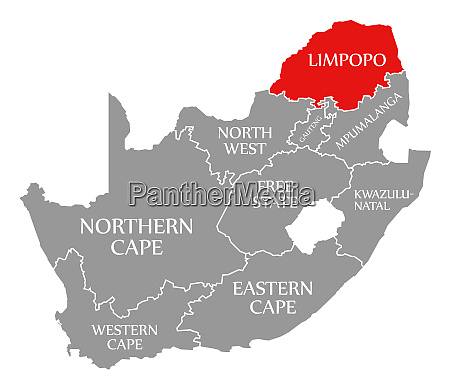 limpopo red highlighted in map of