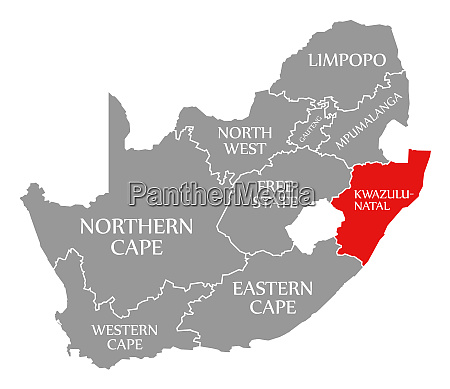 kwazulu natal red highlighted in map