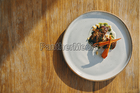 appetizer dish on wooden table