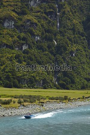 jet boat on matukituki river west