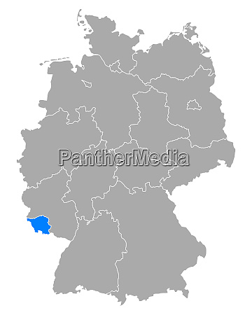 map of saarland in germany