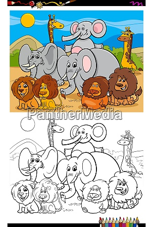 african animals characters group color book