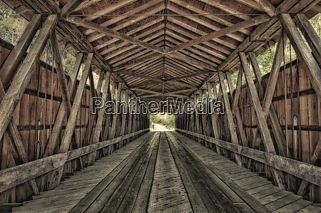 interior of covered bridge indiana usa