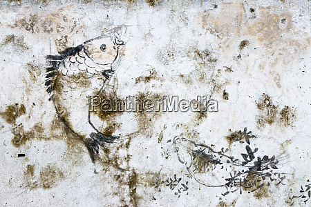 old wall with painting on traditional