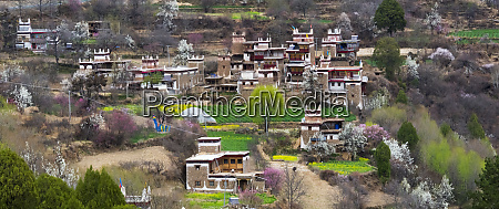jiaju tibetan village in the mountain