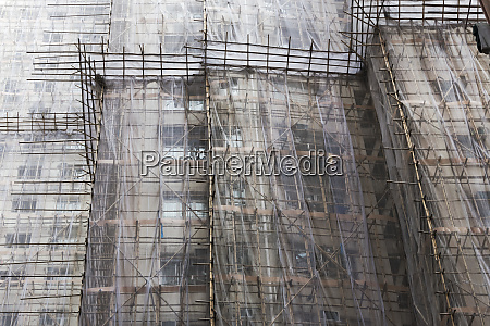 scaffolding around the residential buildings for