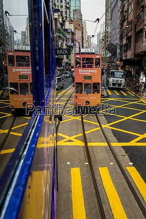double decker buses on hong kong