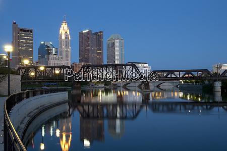 usa ohio columbus city skyline and