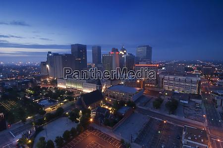 oklahoma oklahoma city skyline at dawn