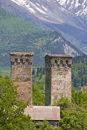 defensive towers mestia svanetia georgia
