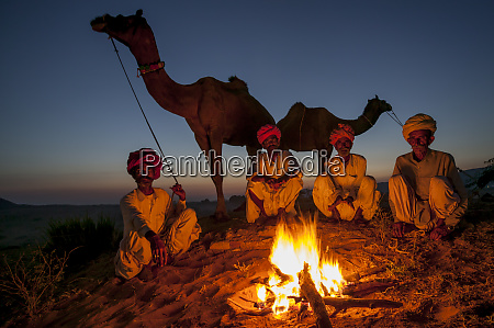 evening fire pushkar fair india