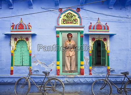 india rajasthan spiritual man in doorway