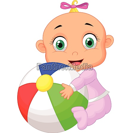 baby girl holding colorful ball