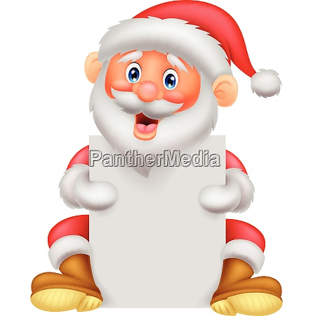 santa clause holding blank sign