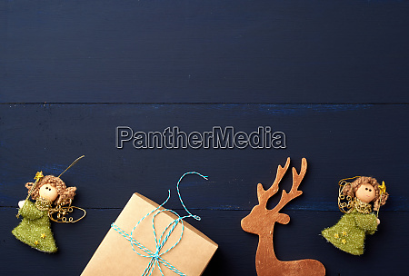 christmas decor on a blue wooden