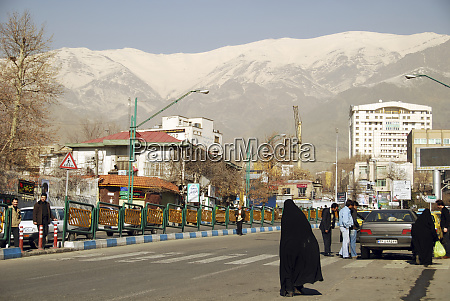 iran tehran cityscape with snowcapped mountain