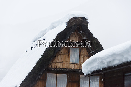 gassho zukuri house covered with snow