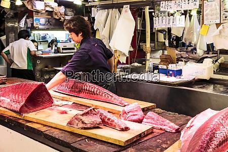 tokyo japan fish monger fillets a
