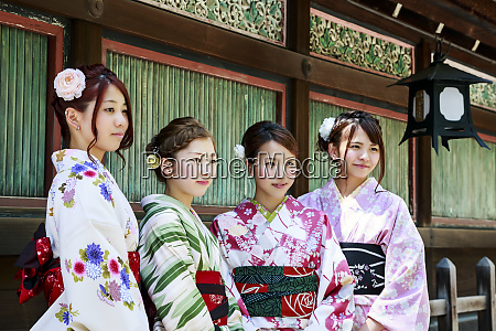 kyoto japan four young women dressed