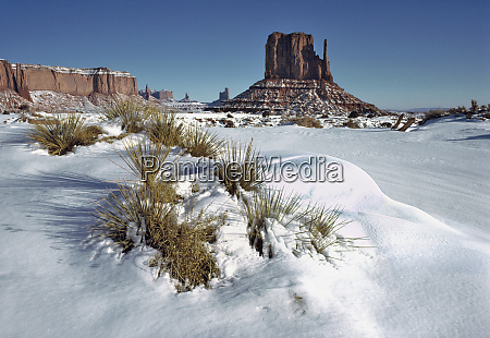 usa utah monument valley fresh snow