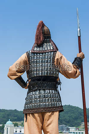 backside of traditional dressed guard at
