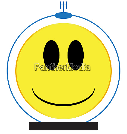 spaceman smile face button isolated