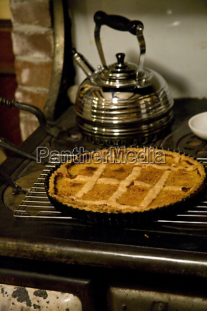 a pie cools on an old