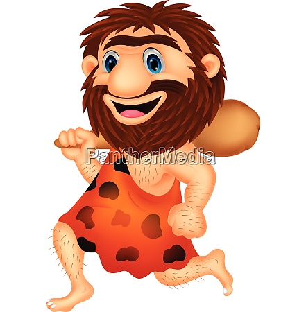 funny caveman cartoon running