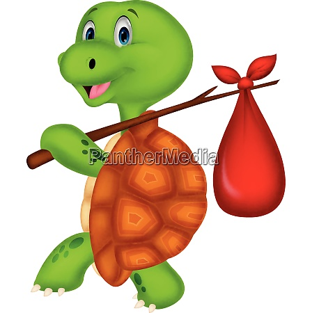 cartoon funny turtle traveling isolated on