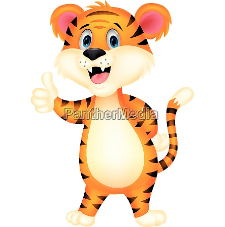 cute tiger cartoon giving thumb up