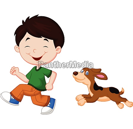 illustration of a boy running with