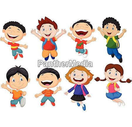 happy school kid cartoon
