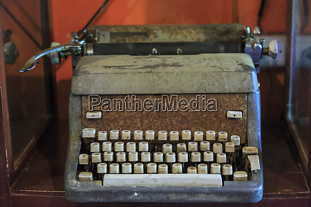 vintage typewriter with thai language keyboard